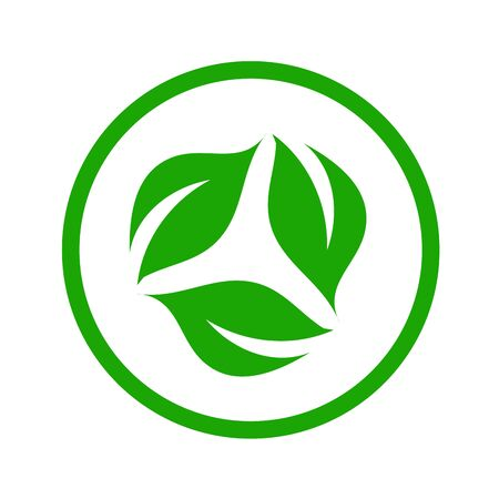 Organic leaf logo symbolizing Vegetarian friendly diet Vettoriali