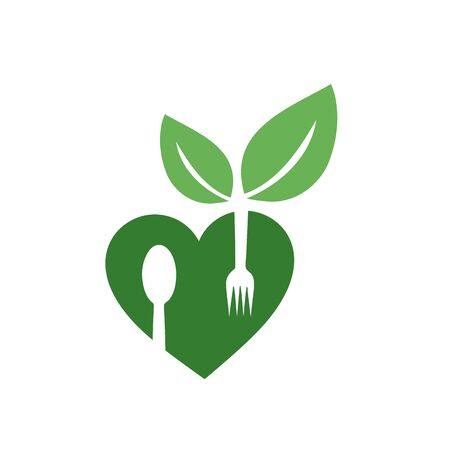 Love for vegan food- logo with organic leaves and spoon forks for organic Vegetarian friendly diet