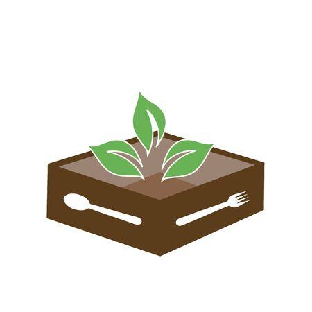Box of vegan food- Vegetarian Food Delivery logo indicating food safety