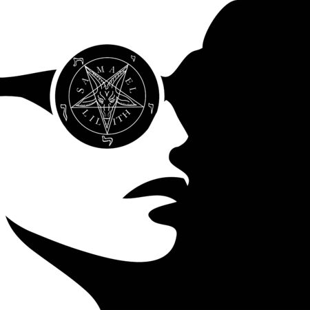 Girl with wiccan symbol- sigil of baphomet