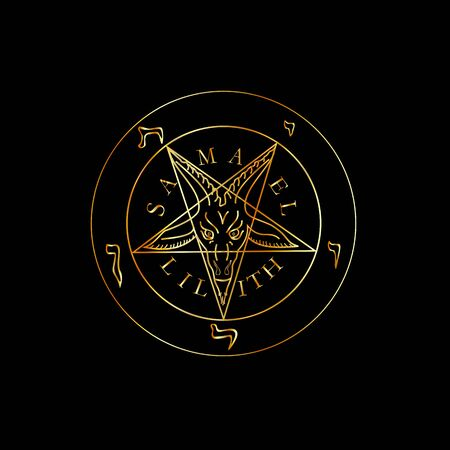 Wiccan symbol golden Sigil of Baphomet- Satanic god occult symbol