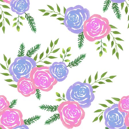 Watercolor roses bouquet with pink roses and ferns background hand painted Standard-Bild