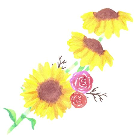 Sunflower and roses bouquet with twigs watercolor medium