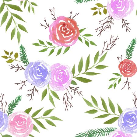 Watercolor roses in warm and soft colors Seamless floral watercolor background