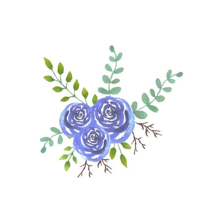 Blue watercolor roses bouquet