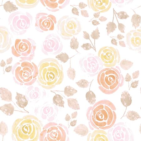 Watercolor roses in warm colors Seamless floral watercolor background