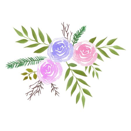 Watercolor roses bouquet with pink roses and ferns Standard-Bild