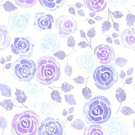 Purple watercolor roses to spiritually calm emotions Seamless floral watercolor background 版權商用圖片
