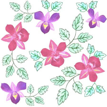 Pink and purple dendrobium orchid pattern background