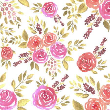 Watercolor roses in warm colors. Seamless floral watercolor background