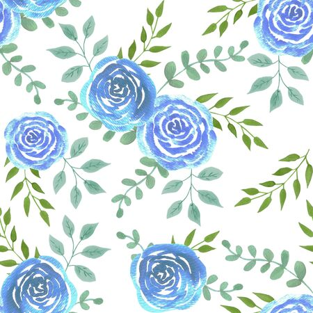Blue watercolor roses seamless background
