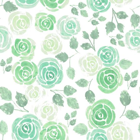 Roses in chalky pastel green background watercolor medium Standard-Bild