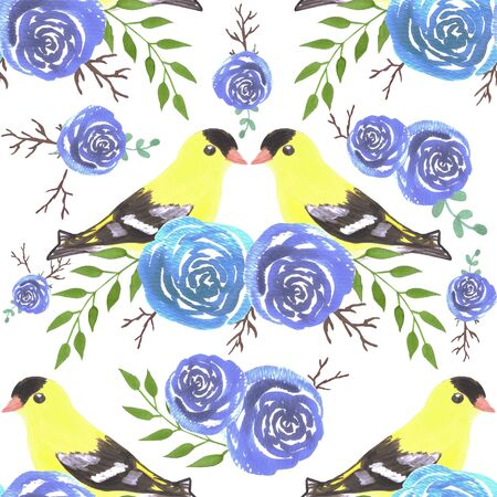 American goldfinches on rose twigs- seamless flowers and yellow birds Illustration
