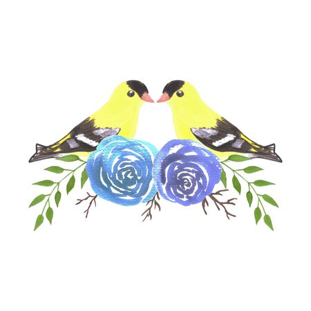 American goldfinch couples on rose twigs- seamless flowers and yellow birds 向量圖像