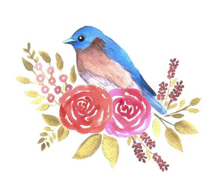Eastern bluebird or Sialia sialis bird on red roses and leaves watercolor