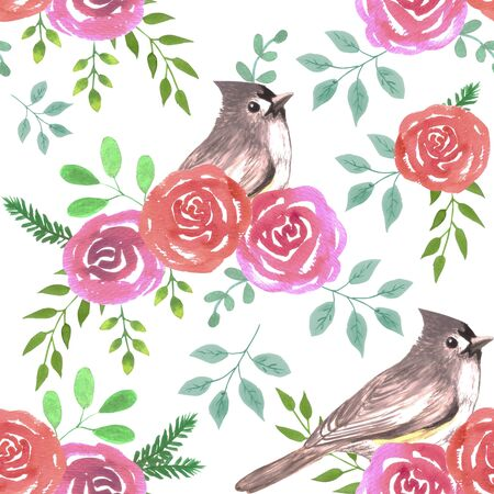 Tufted titmouse or Baeolophus bicolor bird on red and pink roses seamless watercolor birds painting background