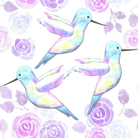 Hummingbirds and lilac roses- birds and roses seamless watercolor birds painting background Illustration