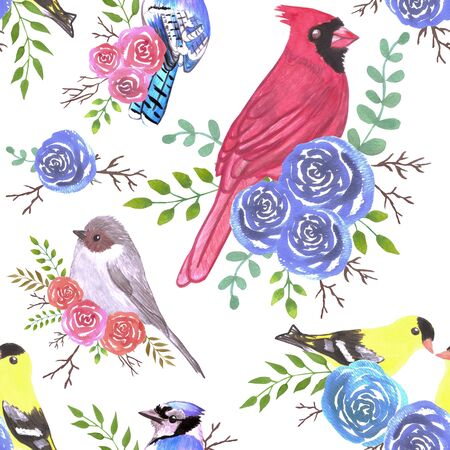 Cardinals, bushtits, blue jays and goldfinches on rose blossoms