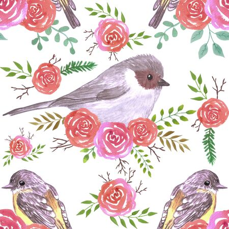 Bushtit and robins on perennial roses seamless watercolor background painting Illustration