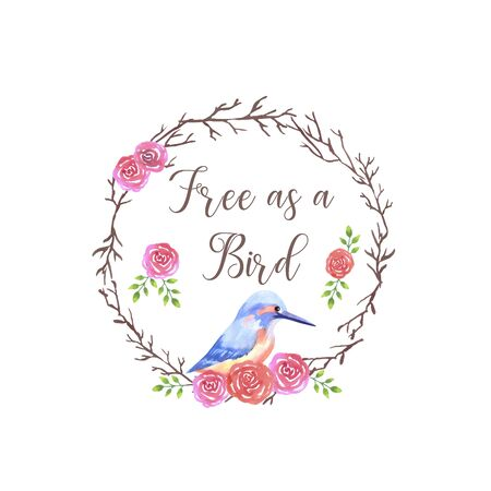 Kingfisher sitting on a rose flower wreath motivational quote