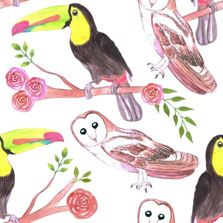 Keel billed toucans and barn owls and flowers seamless watercolor background Illustration