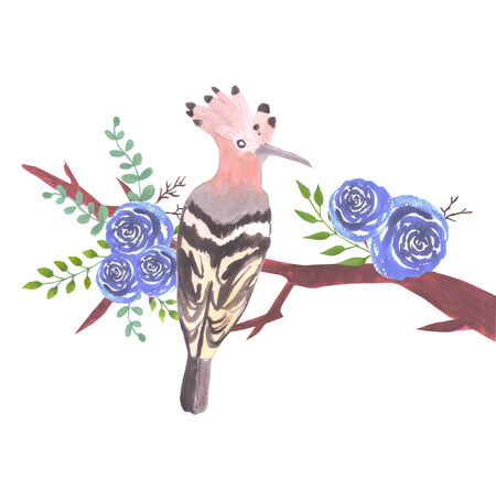 Hoopoe bird on a floral branch with blue roses and leaves watercolor painting
