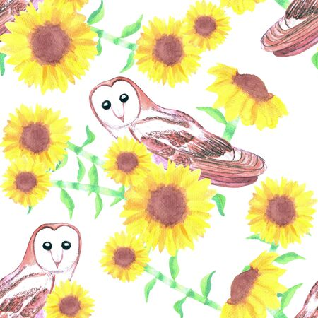 Barn owl or Tyto alba and sunflower seamless background