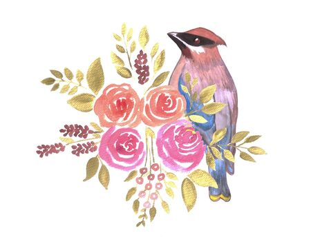 Watercolor Flowers and cedar waxwing bird Illustration