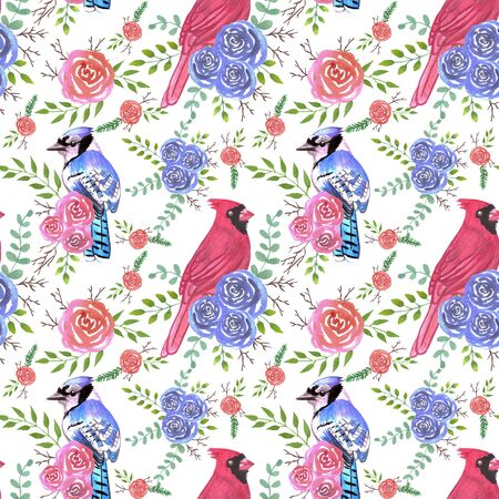 Cardinals and bluejays on rose blossoms- Seamless birds watercolor background