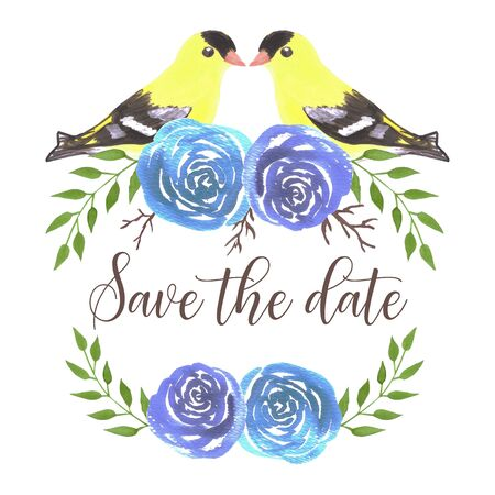 Save the date American goldfinches on rose twigs- seamless flowers and yellow birds Illustration