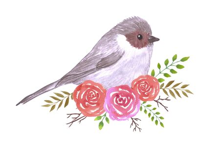 Bushtit and perennial flowering plant watercolor painting