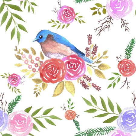 Eastern bluebird or Sialia sialis on seamless rose pattern watercolor background Çizim