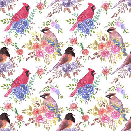 Cardinals juncos and waxwings on rose blossoms- Seamless birds watercolor background Illustration