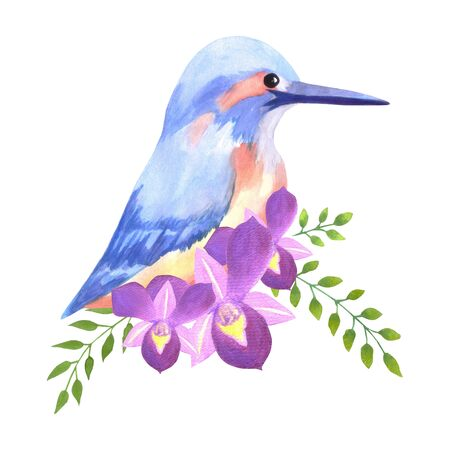 Purple orchids and common kingfisher on roses perennial flowering plant watercolor painting Illustration