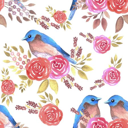 Eastern bluebird or Sialia sialis couple on seamless rose pattern watercolor background Standard-Bild - 143379131