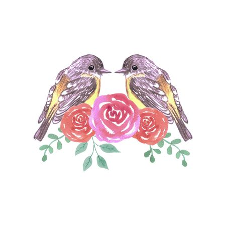 Romantic birds Yellow robins floral frame 向量圖像