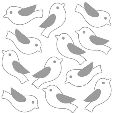 Monochrome cute birds seamless pattern line art background