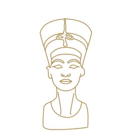 Bust of Nefertiti sculpture great royal wife goddess in Egyptian culture Ilustración de vector