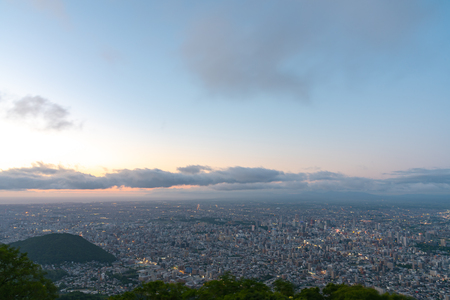 Sapporo city skyline view from Mount Moiwa. Sapporo, Hokkaido, Japan Stok Fotoğraf