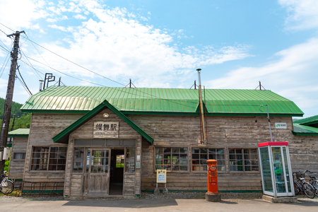 Ikutora Station (Horomai Station) in Hokkaido, Japan. The stage of a Japanese movie POPPOYA: RAILROAD MAN. Фото со стока - 124776659