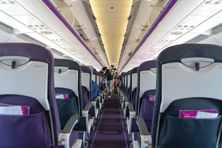 Airbus A320-200 aircraft cabin by Peach Aviation, a budget carrier based in Japan.