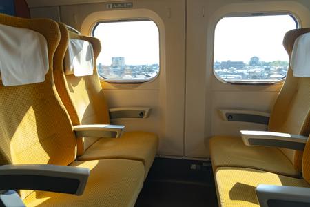 Akita Shinkansen Komachi, Interior of standard class seats of E6 Series super Shinkansen express bullet train at Ueno stat ion in Japan Editorial
