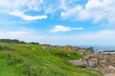 Beautiful Tanesashi kaigan Coast. The coastline includes both sandy and rocky beaches, and grassy scenic meadows views 免版税图像