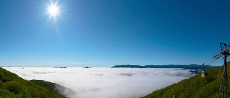Panorama view from Unkai Terrace in summer time sunny day.