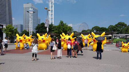 Pikachu Outbreak 2017. A real-world event organized by The Pokemon Company in Yokohama Minato Mirai 21 area, Japan between August 9th and August 15th, 2017