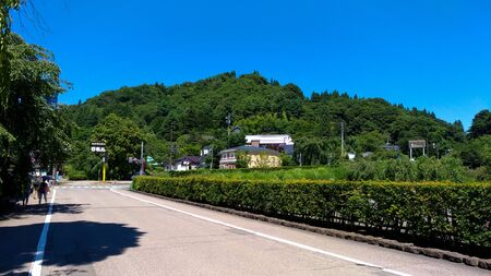 Akita, Japan. AUG 05, 2017 : Street view of Kakunodate, a town located in Senboku District, Akita Prefecture, Japan. Kakunodate is famous by the Bukeyashiki (samurai residences) Editorial