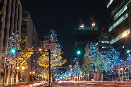 Festival of the Lights in Osaka. The winter illumination events, Midosuji Illumination and Hikari Renaissance. popular tourist attraction, travel destination for vacation