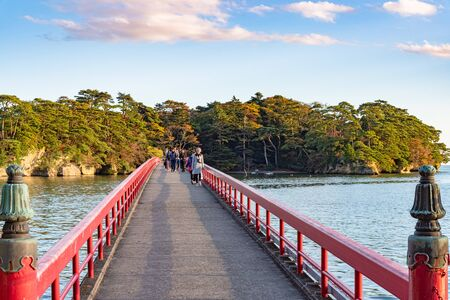 Fukuura Island with Fukuura Bridge in the famous Matsushima Bay. Beautiful islands covered with pine trees and rocks. One of the Three Views of Japan. Miyagi Prefecture, Japan