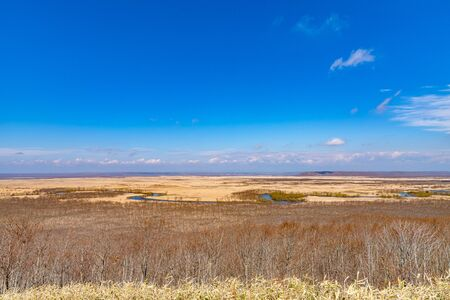 Kushiro Shitsugen national park in Hokkaido in spring day, view from Hosooka observation deck, the largest wetland in Japan. The park is known for its wetlands ecosystems Stockfoto