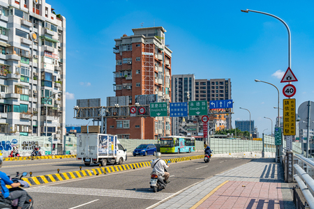Street view on Taipei bridge, a bridge link New Taipei City to Taipei city, Taiwan